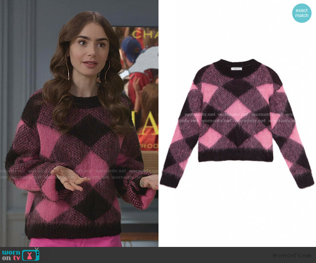 Sparks Wide Plaid Mohair Sweater by Sandro worn by Emily Cooper (Lily Collins) on Emily in Paris
