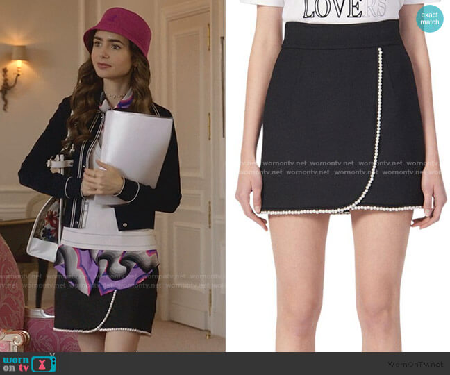 Vicky Simulated Pearl-Trimmed Mini Skirt by Sandro worn by Emily Cooper (Lily Collins) on Emily in Paris