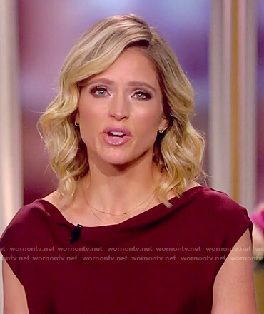 Sara's burgundy drape neck top on The View