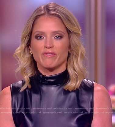 Sara's black leather mock neck top on The View