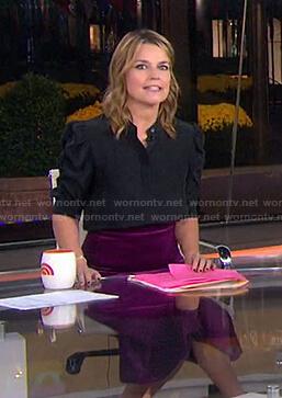 Savannah's black blouse and purple velvet skirt on Today