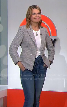 Savannah's check blazer and tie waist jeans on Today