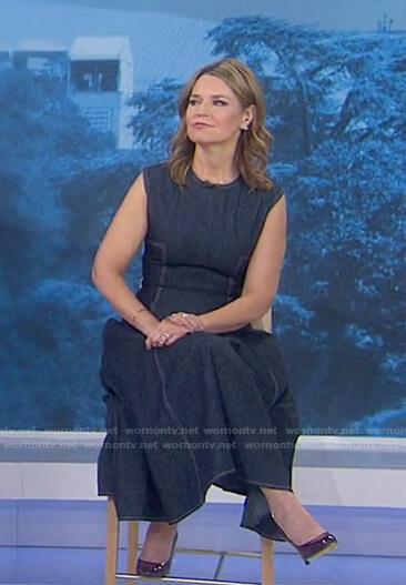 Savannah's denim midi dress with white stitching on Today