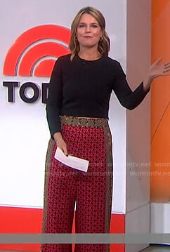 Savannah's red mixed print wide-leg pants on Today