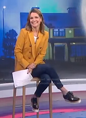 Savannah's orange double breasted blazer and platform shoes on Today