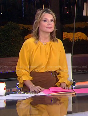 Savannah's yellow blouse and brown wrap skirt on Today