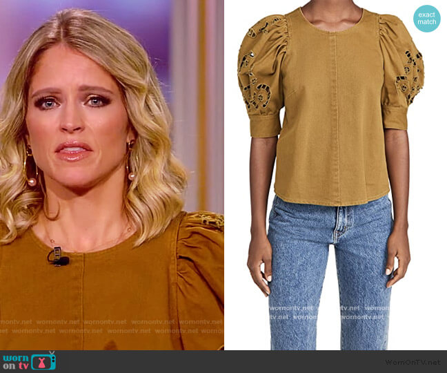 Rue Embroidered Denim Short Sleeve Top by Sea worn by Sara Haines  on The View