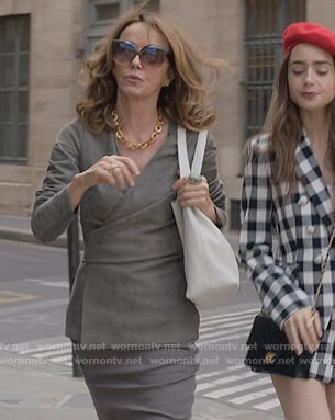 Sylvie's gray suede wrap jacket on Emily in Paris