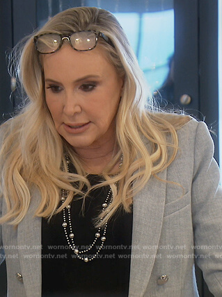 Shannon's gray double breasted blazer on The Real Housewives of Orange County
