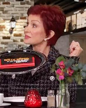 Sharon's black tweed blazer on The Talk