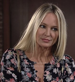 Sharon's black floral blouse on The Young and the Restless