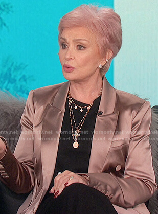 Sharon's pink satin double breasted blazer on The Talk