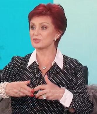 Sharon's black polka dot blouse on The Talk