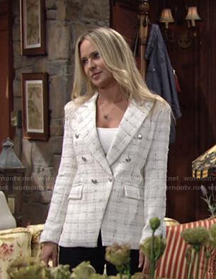 Sharon's white check tweed blazer on The Young and the Restless