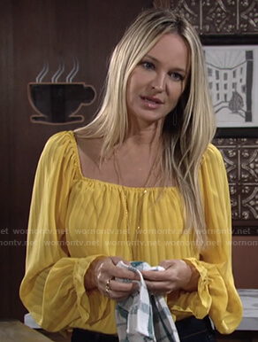 Sharon's yellow striped square neck top on The Young and the Restless