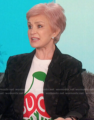 Sharon's white gucci tee and blazer on The Talk