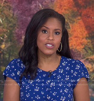 Sheinelle's blue floral front button dress on Today