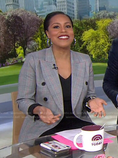 Sheinelle's grey plaid double breasted blazer on Today