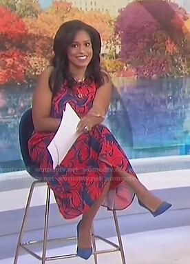 Sheinelle's red floral sleeveless dress on Today