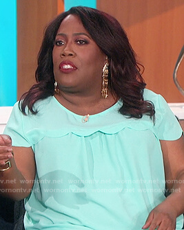 Sheryl's light blue scallop trim top on The Talk