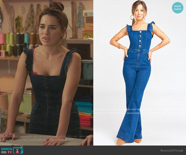 Show me your Mumu Rhea Denim Jumpsuit worn by Ginger Sweet (Melia Kreiling) on Filthy Rich