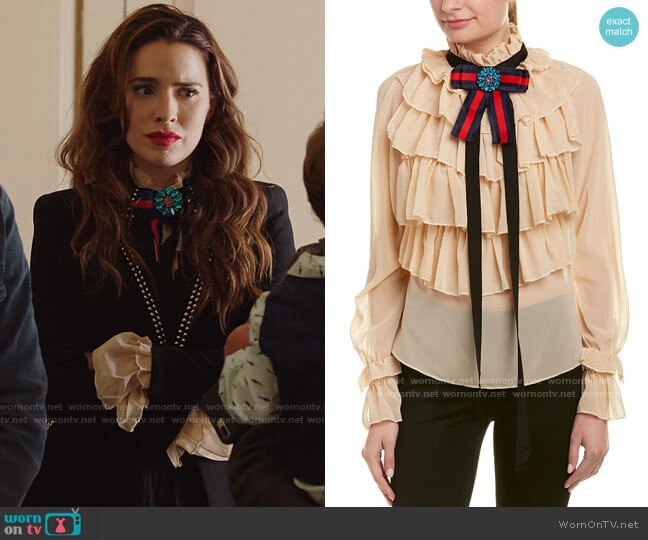 Sipaiya Bow Blouse worn by Ginger Sweet (Melia Kreiling) on Filthy Rich