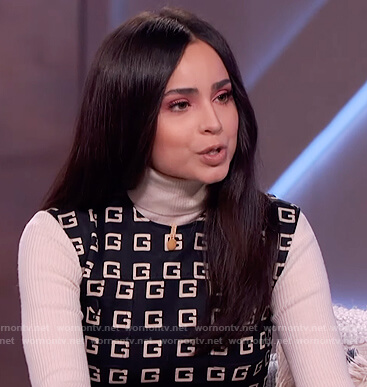 Sofia Carson's black Gucci logo vest and pants on The Kelly Clarkson Show