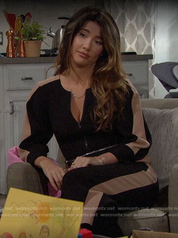 Steffy's black side striped jumpsuit on The Bold and the Beautiful