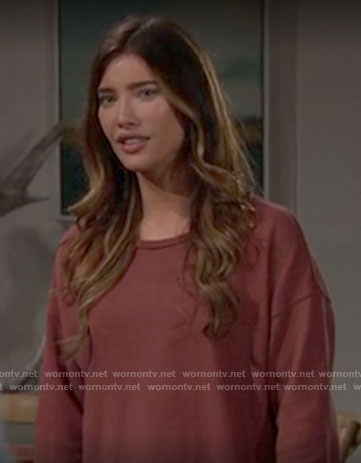 Steffy's rust colored sweatshirt on The Bold and the Beautiful