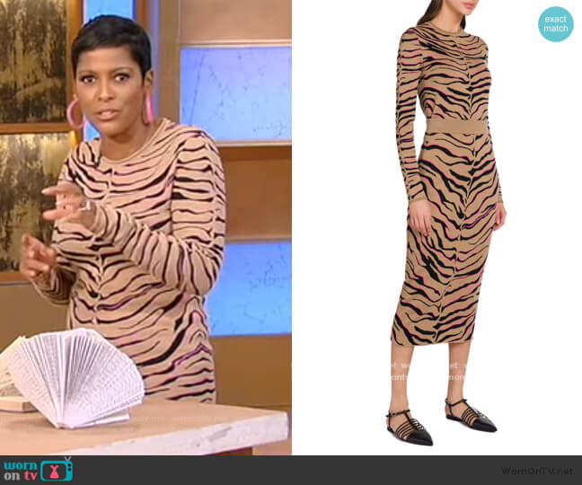 Tiger Stripe Virgin Wool Sweater and Skirt by Stella McCartney worn by Tamron Hall  on Tamron Hall Show
