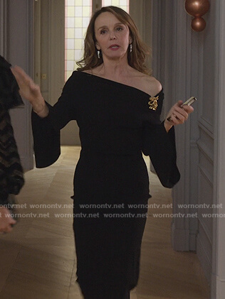Sylvie's black off shoulder midi dress on Emily in Paris