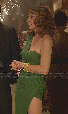 Sylvie's green one-shoulder asymmetric dress on Emily in Paris
