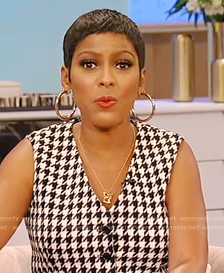 Tamron's houndstooth vest on Tamron Hall Show