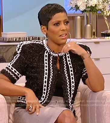 Tamron's black tweed contrast jacket on Tamron Hall Show