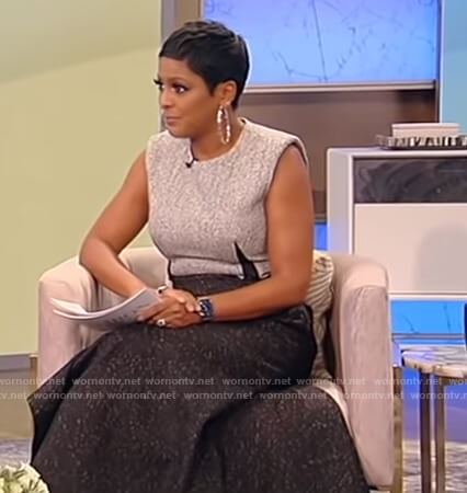 Tamron's black and gray sleeveless knit dress on Tamron Hall Show
