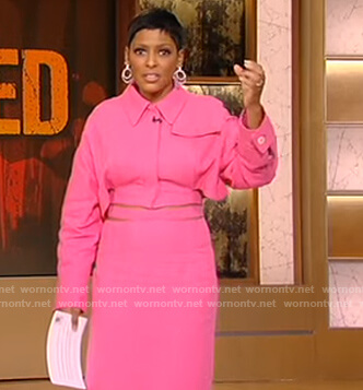 Tamron's pink cropped jacket and skirt on Tamron Hall Show