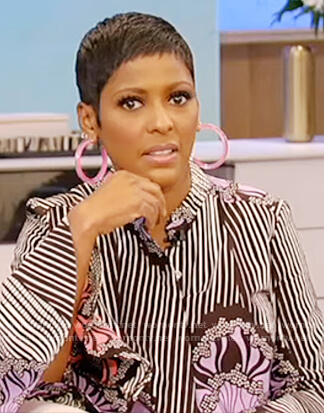 Tamron's stripe floral dress on Tamron Hall Show