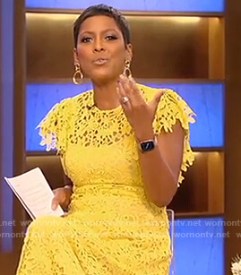 Tamron's yellow floral lace dress on Tamron Hall Show