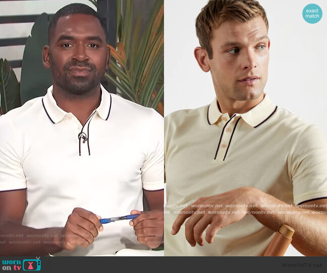 Cotton Tipped Textured Polo by Ted Baker worn by Justin Sylvester  on E! News