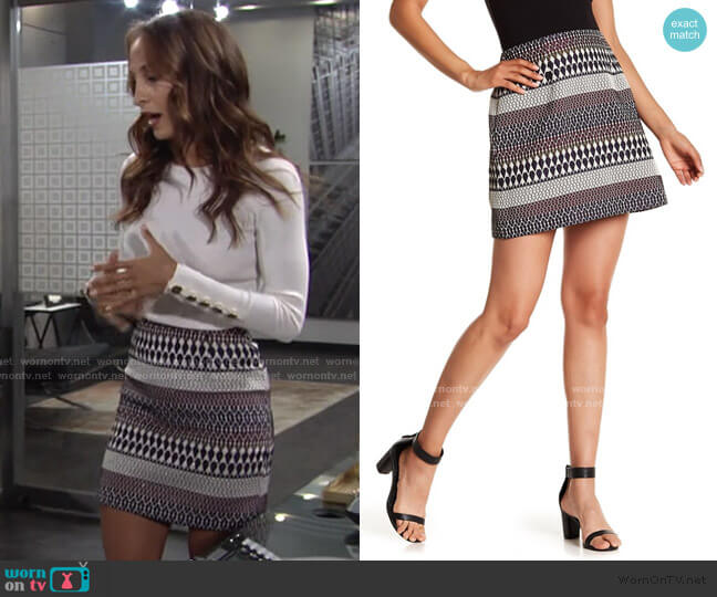 Raych Jacquard Mini Skirt by Ted Baker worn by Lily Winters (Christel Khalil) on The Young & the Restless