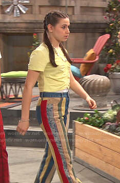 Tess's yellow top and striped patchwork pants on Ravens Home