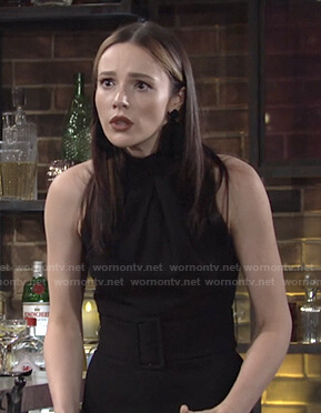 Tessa's black belted jumpsuit on The Young and the Restless