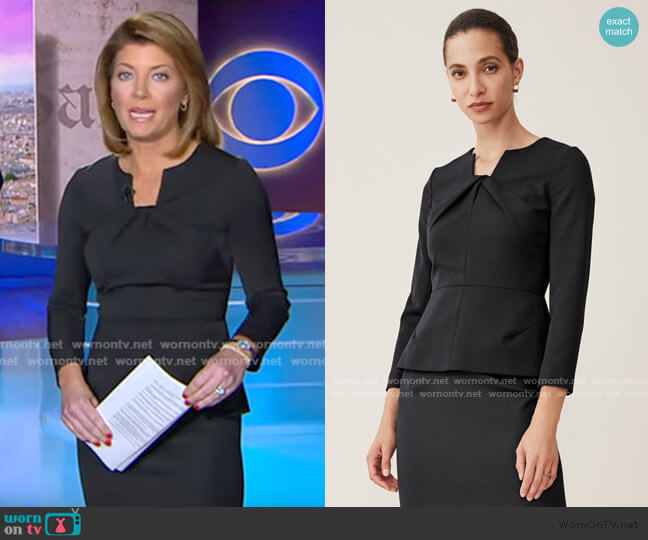 Belmore Top by The Fold worn by Norah O'Donnell  on CBS Evening News