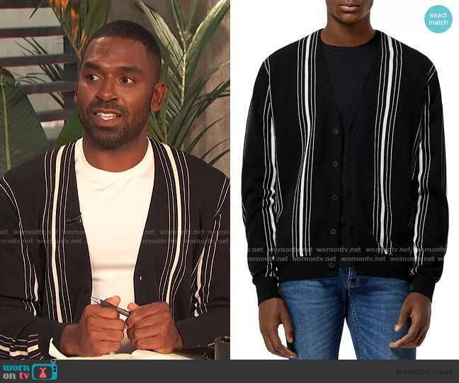 Cotton Blend Striped Cardigan by The Kooples worn by Justin Sylvester  on E! News
