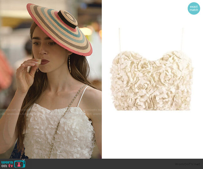 Petal Cami Crop Top by The Naked Laundry worn by Emily Cooper (Lily Collins) on Emily in Paris