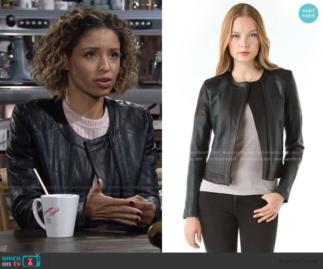 Maisie Leather Jackey by Theory worn by Elena Dawson (Brytni Sarpy) on The Young & the Restless