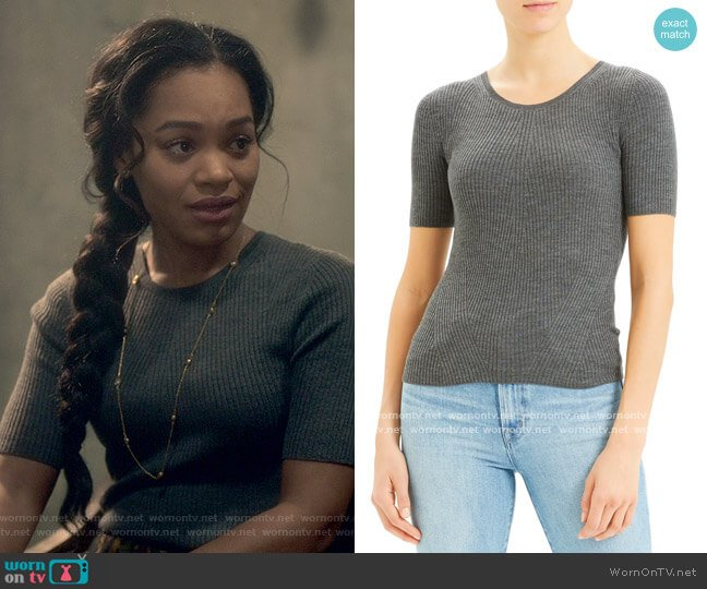 Theory Regal Moving Ribbed Short Sleeve Wool Sweater worn by Rebecca Jessel (Tahirah Sharif) on The Haunting of Bly Manor