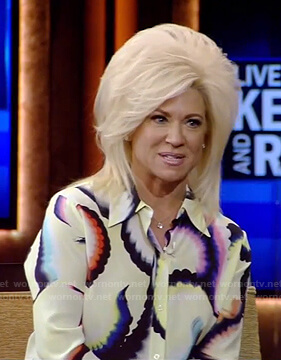 Theresa Caputo's yellow tie-dye blouse on Live with Kelly and Ryan