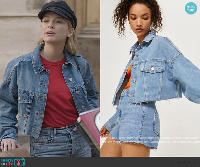 Hacked Off Crop Denim Jacket by Topshop