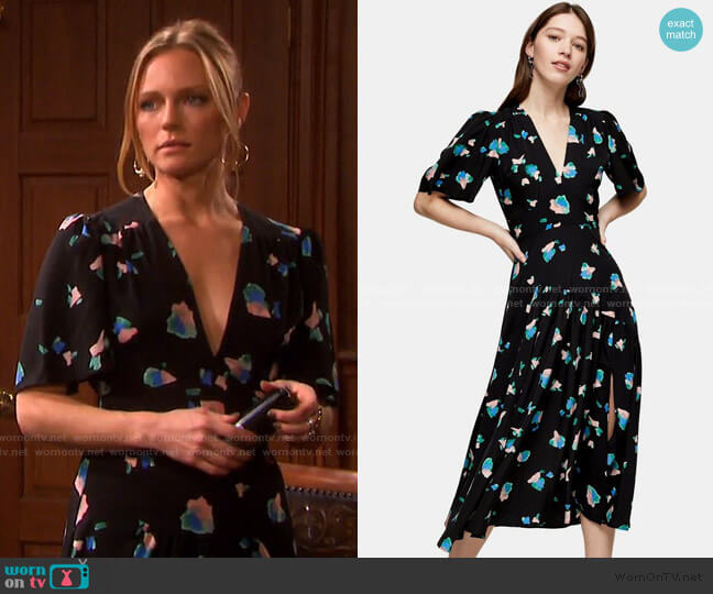 Spot Angel Sleeve Midi Dress by Topshop  worn by Abigail Deveraux (Marci Miller) on Days of our Lives